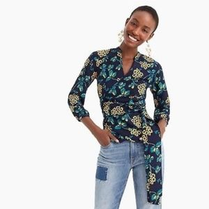 J.Crew Drapey Crepe Wrap Top in Floral